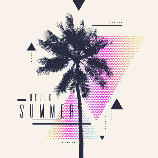 hello summer. modern poster with palm tree and geometric graphic - palm tree stock illustrations