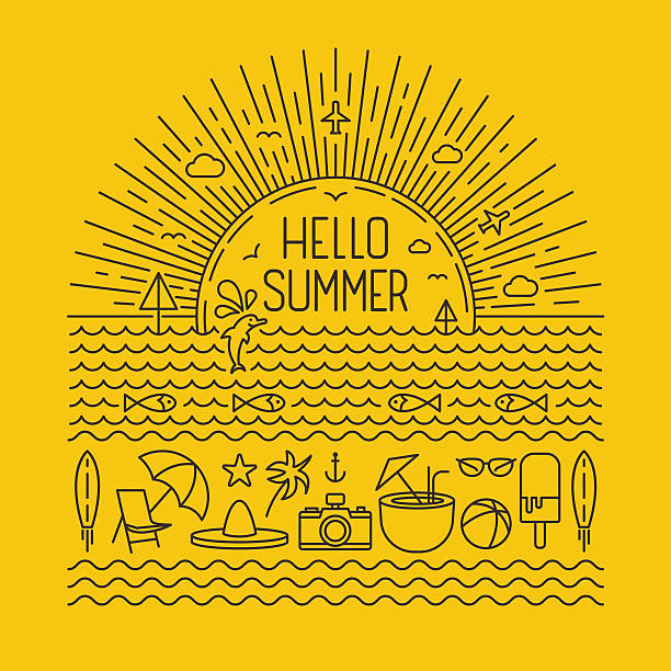 Hello summer outlines vector art illustration