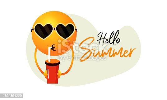 istock Hello Summer, palm tree ,Hand drawn illustration. stock illustration 1304354229