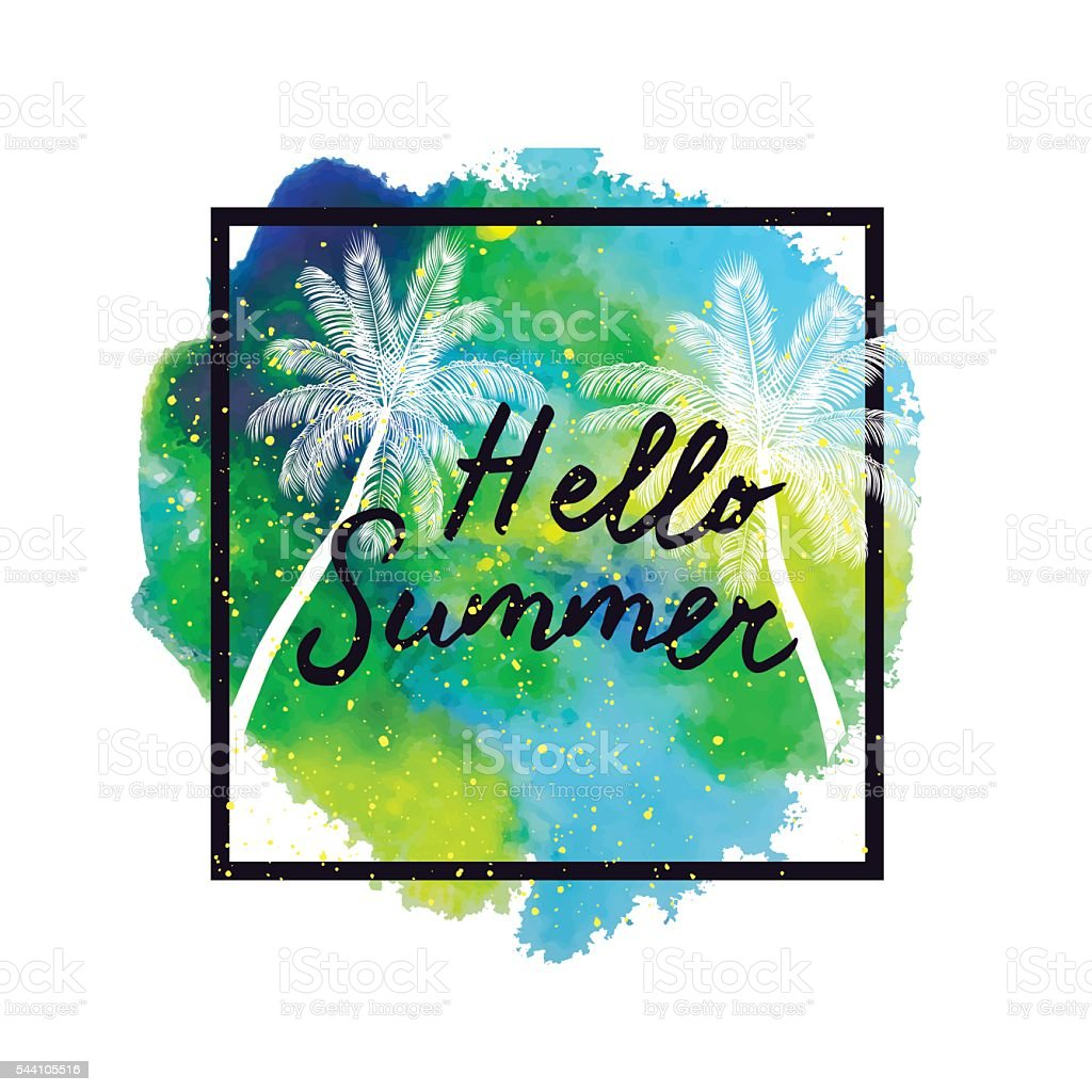 Hello Summer Palm Trees On Bright Colorful Watercolor Background ...