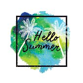 Hello Summer. Palm trees on bright colorful watercolor background.