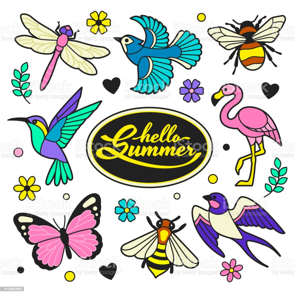 Hello Summer patches collection. vector art illustration