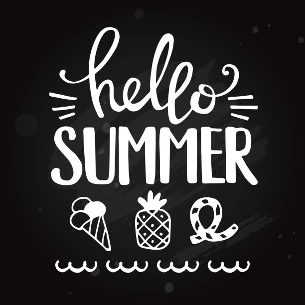 Hello Summer phrase. Blackboard lettering vector illustration - illustrazione arte vettoriale