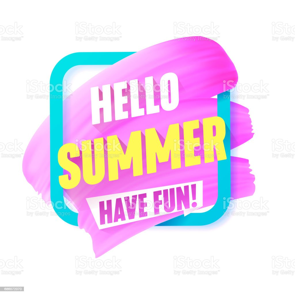 Hello Summer Pink smear in Frame vector label with text. vector art illustration