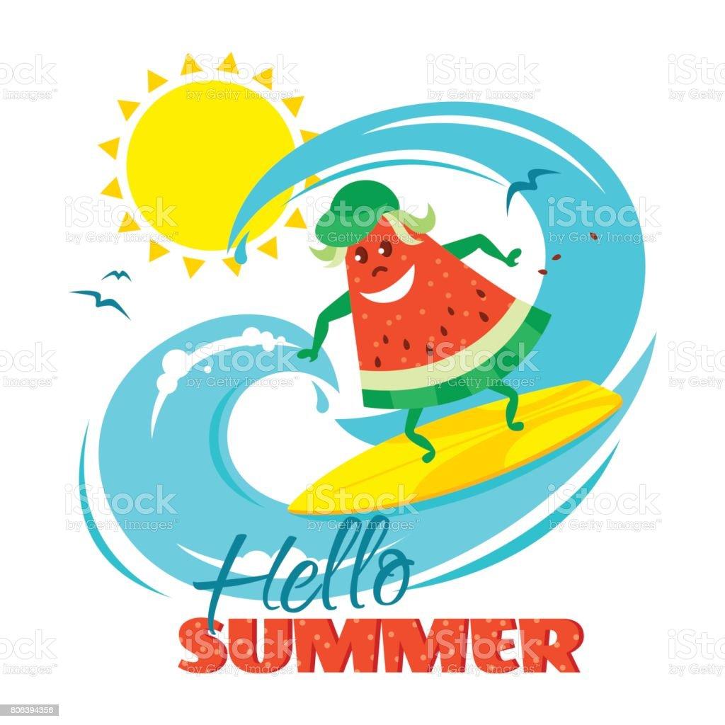 こんにちは夏ポスター デザインかわいいスイカ サーファーと アイス