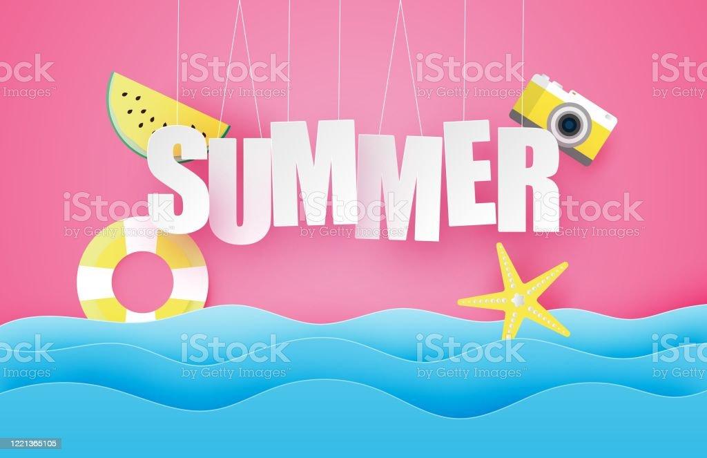 こんにちは夏のポスターやバナーはハングテキストスイカスイムリング紙のカットスタイルで海の波の上に星ベクトルイラストデジタルクラフト紙アート壁紙背景夏のシー お祝いのベクターアート素材や画像を多数ご用意 Istock