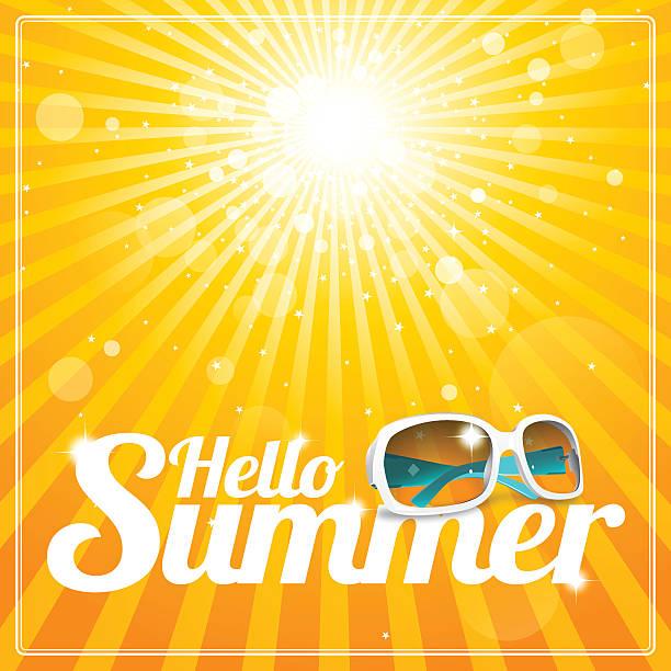 hallo sommer poster mit kühlen weißen sonnenbrille und dem glorreichen sonnenschein - hello stock-grafiken, -clipart, -cartoons und -symbole