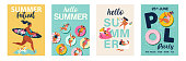 Hello summer posters in vector. Cute Retro posters set.