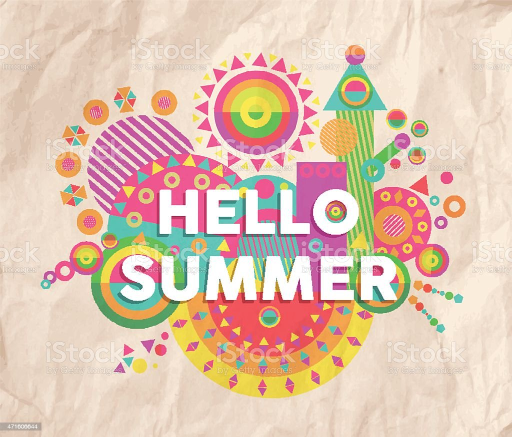 Hello summer quote poster design vector art illustration