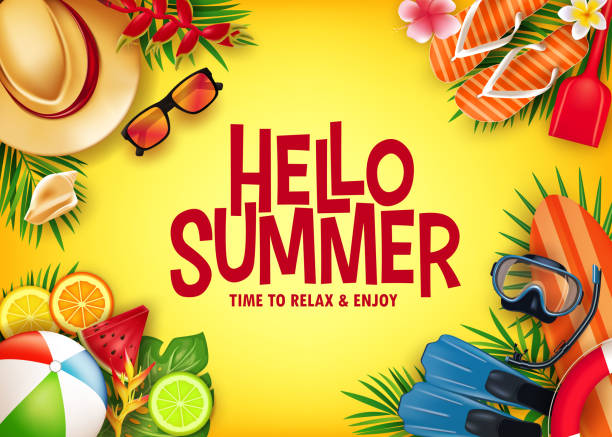 hello summer realistic vector banner in yellow background with tropical elements like scuba diving equipment - summer background stock illustrations