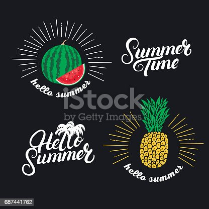 istock Hello summer set. Hand written lettering quotes and hand drawn pineapple and watermelon. 687441762
