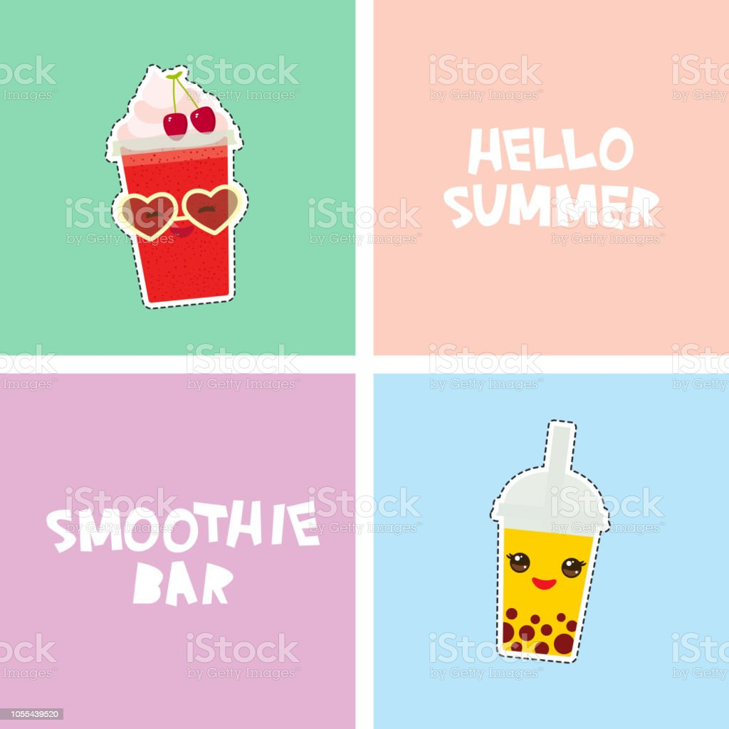 Hello Summer Smoothie bar bright tropical card banner design, fashion patches badges stickers. bubble tea, cherry smoothie, sunglasses. Kawaii cute face. Applicable for Banners, Flyers. Vector vector art illustration