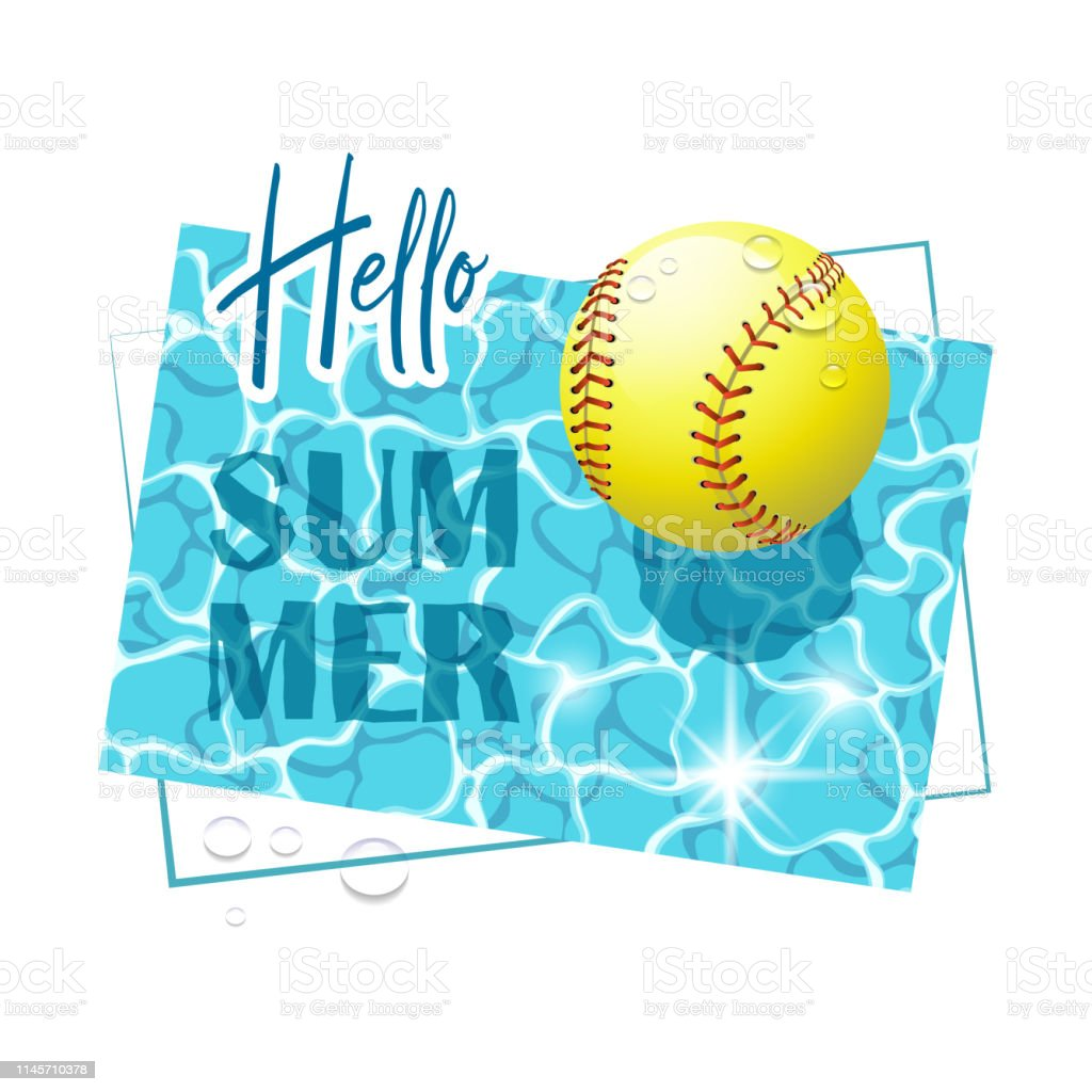 Hello Summer. Solar water surface with a softball ball and water...