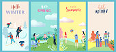 Hello summer, spring, autumn, winter. Set of posters, flyers or cards with people and family outdoor seasonal entertainment. Flat style design. Vector background.