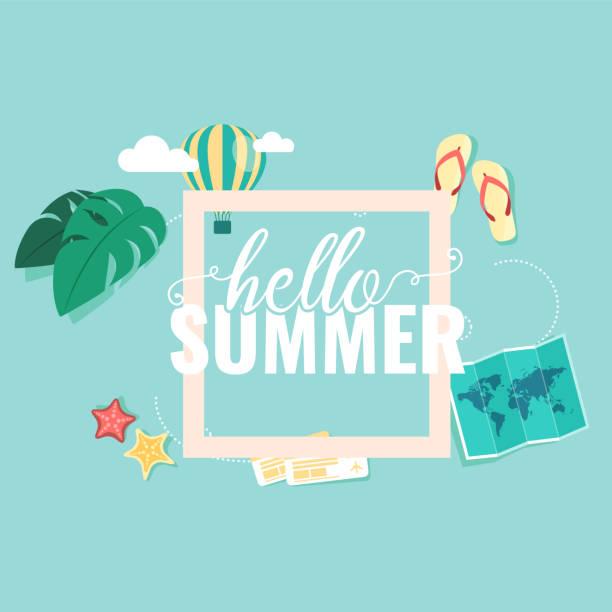 ilustrações de stock, clip art, desenhos animados e ícones de hello summer square blue sky background vector image - ibiza