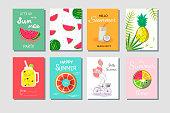 Hello summer. Summer cards with inscriptions, set. Summertime poster. Fruits, sea, beach, lemonade. Journal cards