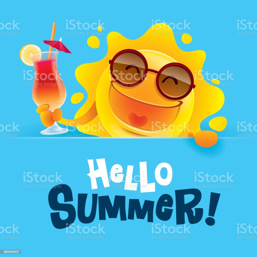 Hallo zomer! Zomerzon holding een teken en een cocktail. royalty free hallo zomer zomerzon holding een teken en een cocktail stockvectorkunst en meer beelden van achtergrond - thema