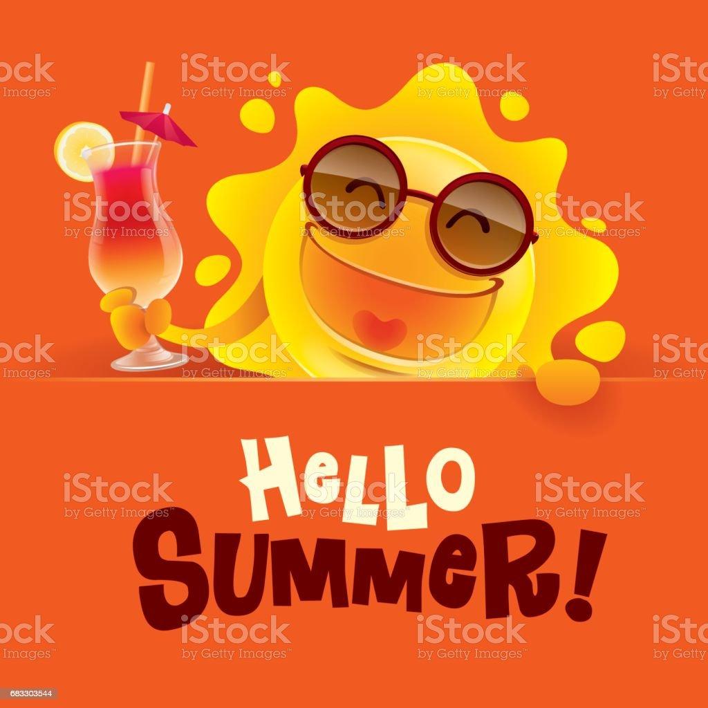 Hello Summer! Summer sun holding a sign and a cocktail. hello summer summer sun holding a sign and a cocktail - stockowe grafiki wektorowe i więcej obrazów czerwony royalty-free