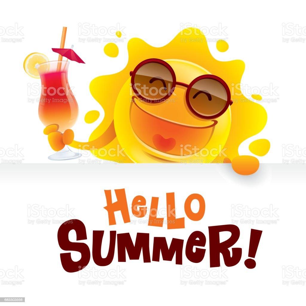 Hello Summer! Summer sun holding a sign and a cocktail. hello summer summer sun holding a sign and a cocktail - immagini vettoriali stock e altre immagini di allegro royalty-free