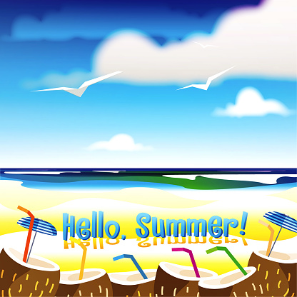 Hello summer! Summer vacation at the sea. Creative poster or flyer