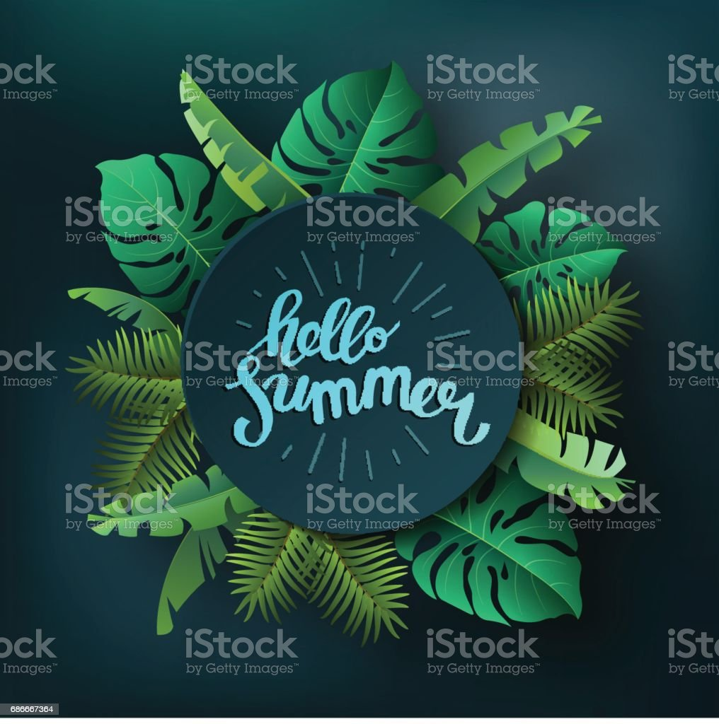 Hello summer, summertime. The text poster against the background of tropical plants. The poster for sale and an advertizing sign.  Vector Illustration. vector art illustration