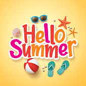 Hello Summer Text Title Poster Design with Realistic 3D Vector Elements and Decorations in Yellow Background. Vector Illustration