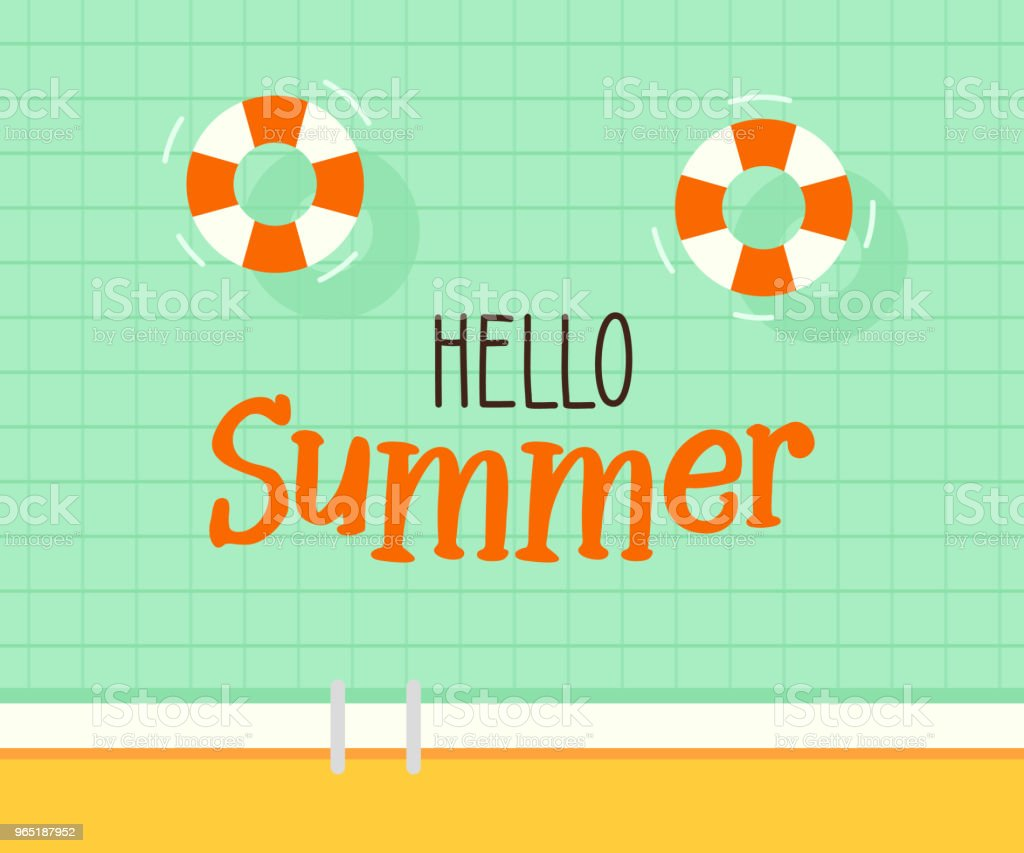 Hello summer text with a swimming pool background. Vector illustration design for seasonal holidays, vacations, resorts, summer related subjects, posters, flyers, party invitations royalty-free hello summer text with a swimming pool background vector illustration design for seasonal holidays vacations resorts summer related subjects posters flyers party invitations stock vector art & more images of above