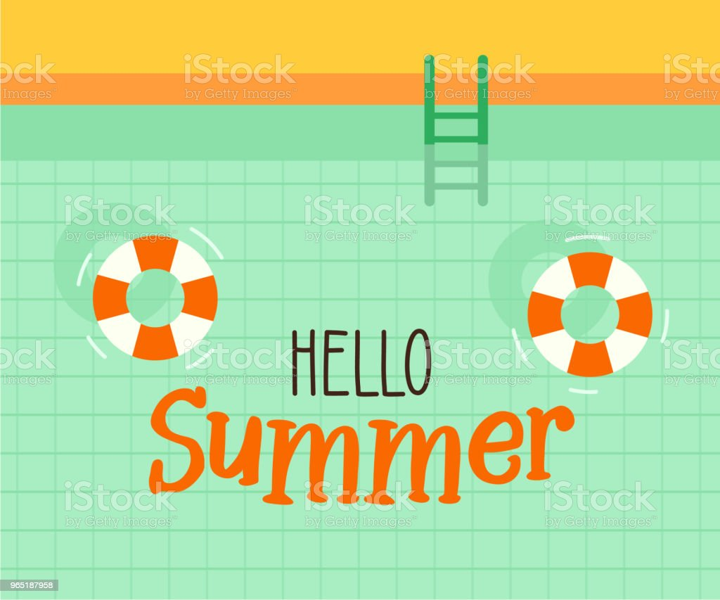 Hello summer text with a swimming pool background. Vector illustration design for seasonal holidays, vacations, resorts, summer related subjects. hello summer text with a swimming pool background vector illustration design for seasonal holidays vacations resorts summer related subjects - stockowe grafiki wektorowe i więcej obrazów banner internetowy royalty-free