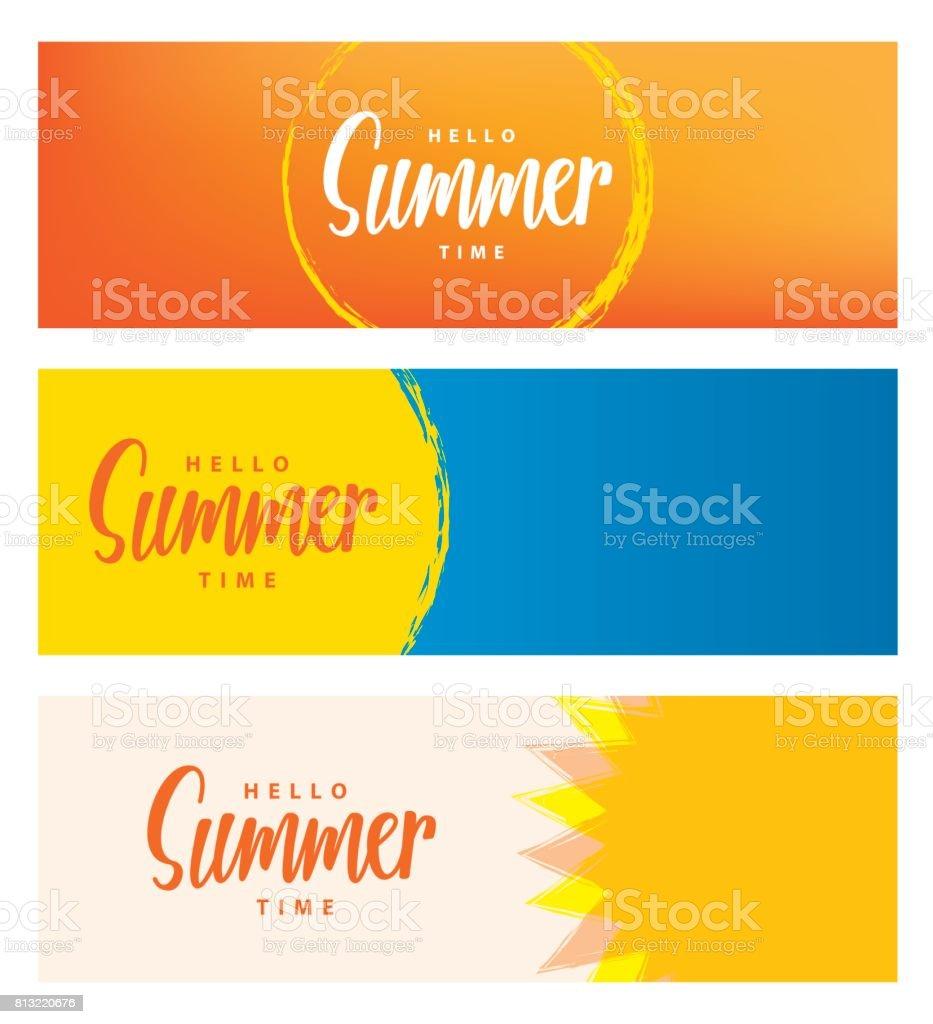 Hello summer time heading 3 design for banner or poster. Summer event concept. Vector illustration. vector art illustration
