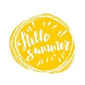Hello summer time sun eco bio lettering text