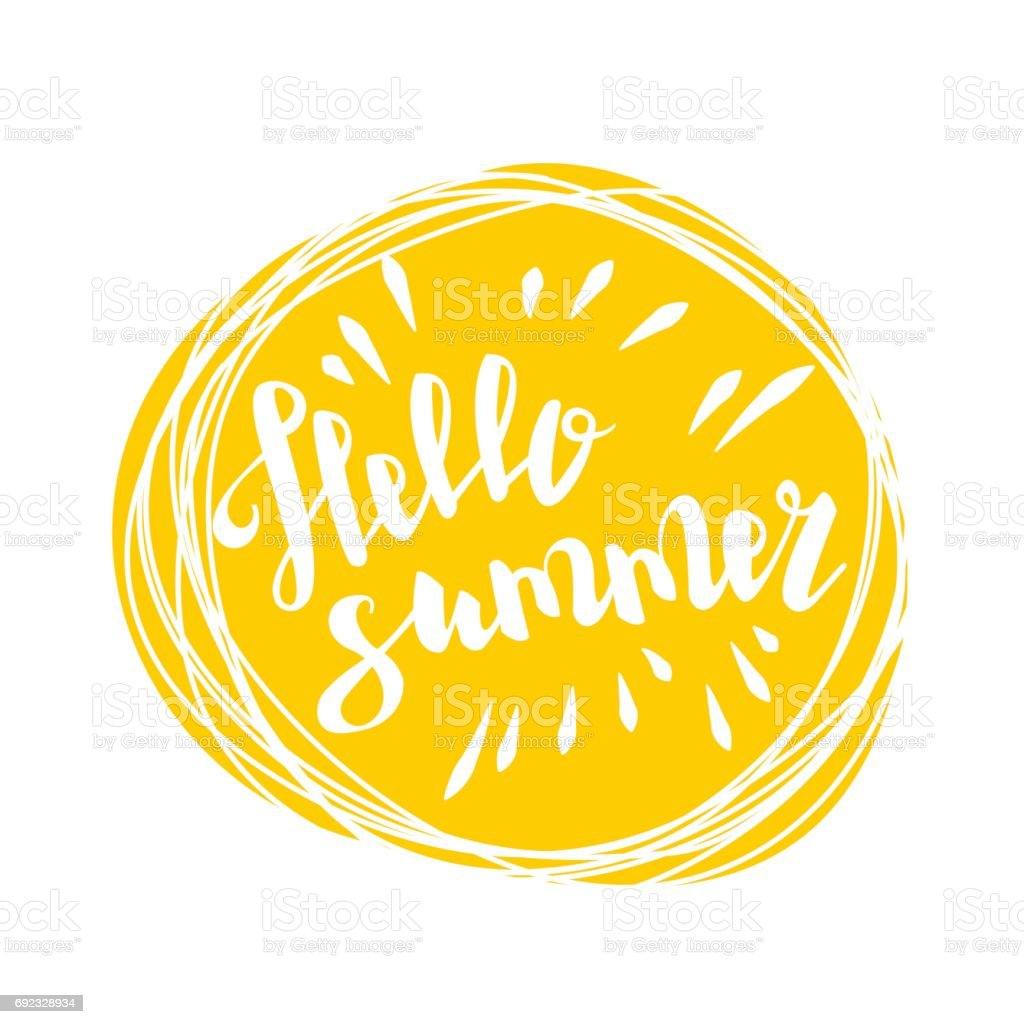 Hello summer time sun eco bio lettering text vector art illustration