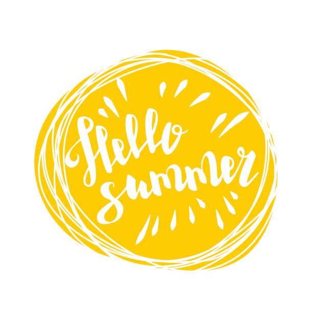 Hello summer time sun eco bio lettering text Hello summer time lettering comic text font in yellow speech bubble. Eco, bio party label tag advertising. Colored vector illustration isolated on white background. Cartoon juice colored fresh mood. summer sun stock illustrations