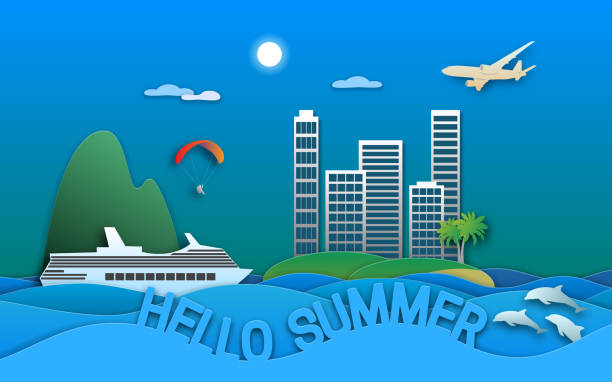 ilustrações de stock, clip art, desenhos animados e ícones de hello summer travel illustration in paper cut style. sea resort town, cruise ship, paraglider, islands, dolphins and aircraft. - parapente