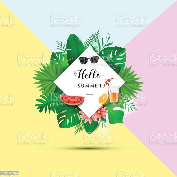 Hello summer tropical leaves vector illustration summer banner with vector id826680944?b=1&k=6&m=826680944&s=612x612&h=7scnvew3bwqimkqwsh9koqkukbqhaivuv0fx whvemc=