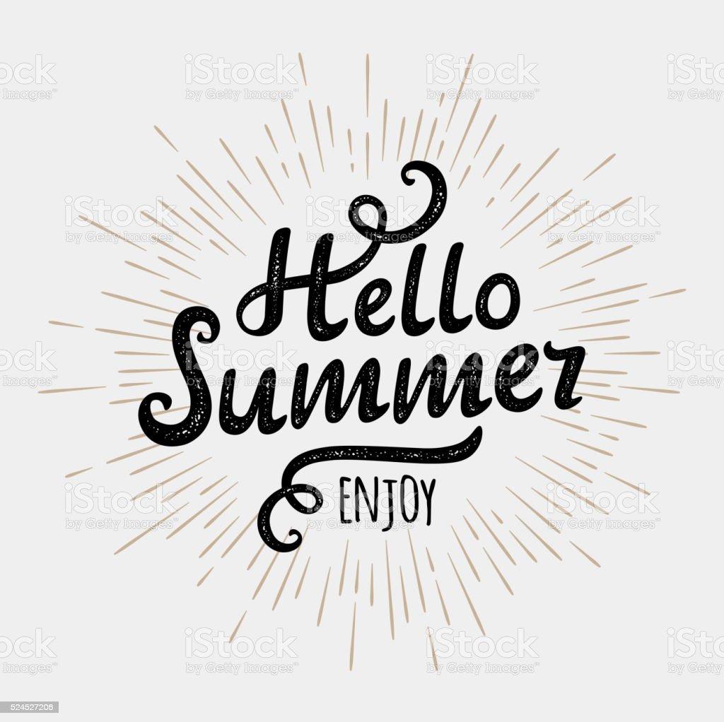 Hello summer, typographic inscription on vintage monochrome sun background