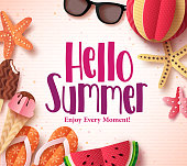 Hello summer vector background template with flat paper cut beach elements