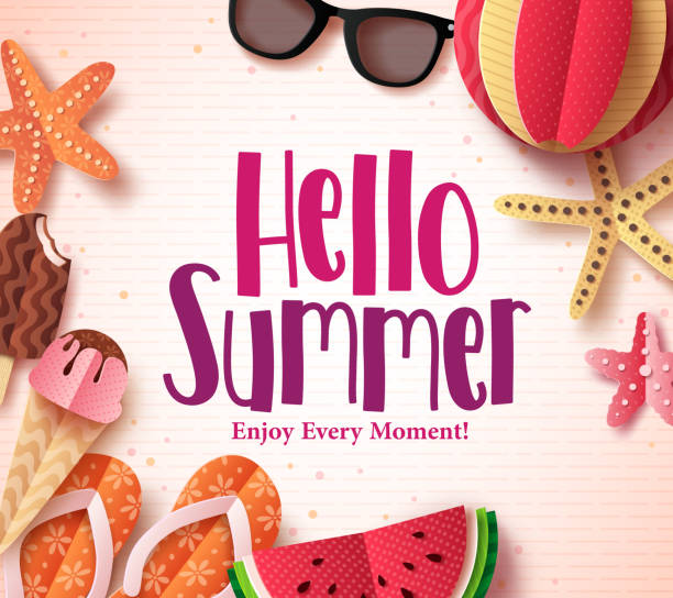 hello summer vector background template with flat paper cut beach elements - summer background stock illustrations