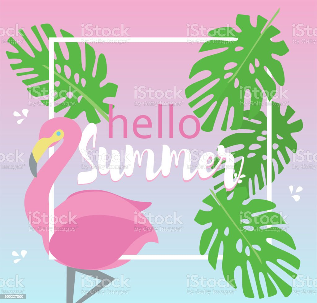 Hello Summer vector background with flamingo and tropical leaves. royalty-free hello summer vector background with flamingo and tropical leaves stock vector art & more images of backgrounds