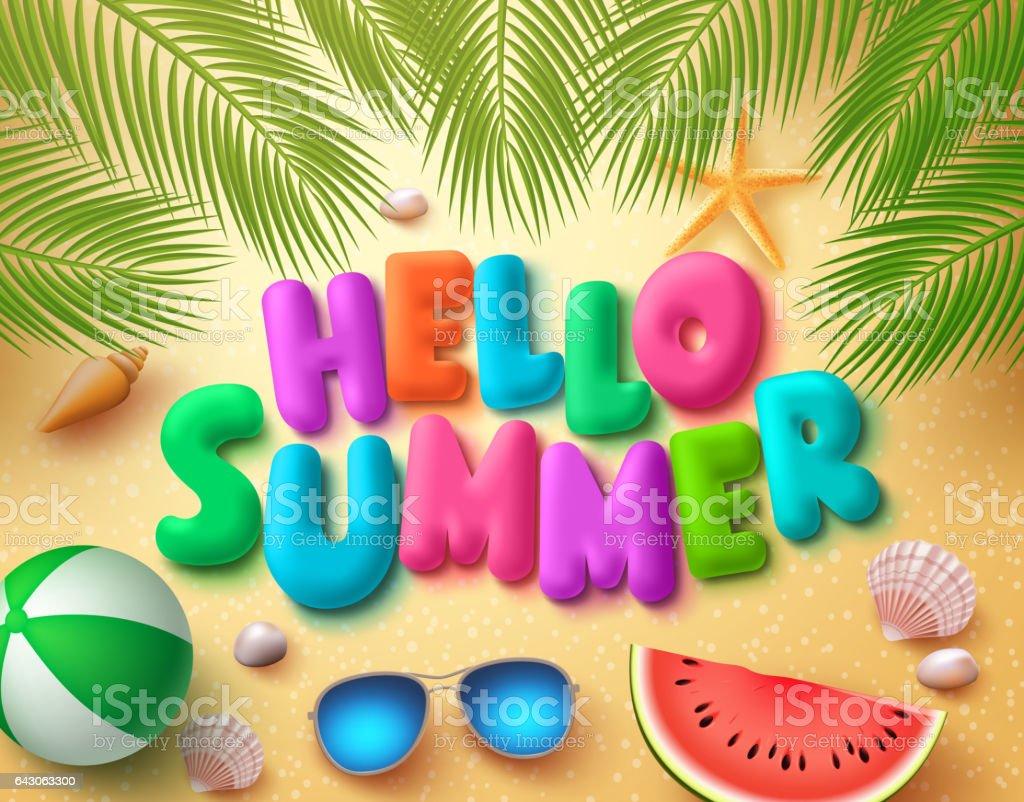 Hello summer vector banner design in beach sand background vector art illustration