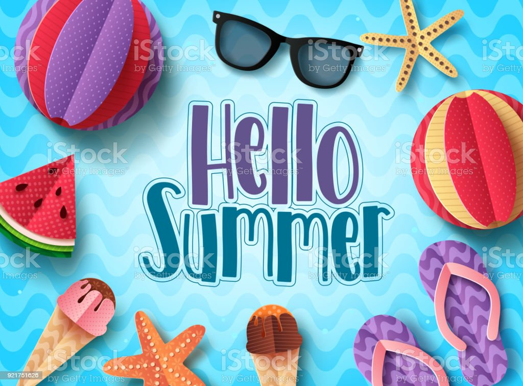 Hello Summer Vector Banner Design With Beach Elements Floating In Blue  Pattern Background Royalty Free