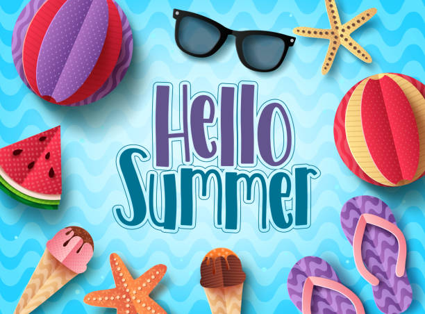 hello summer vector banner design with beach elements floating in blue pattern background - holiday background stock illustrations