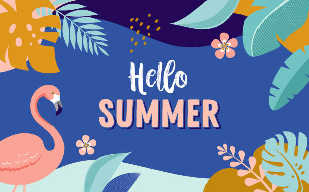 Hello Summer, vector banner design with flamingo and tropical leaves Hello Summer, vector banner design with flamingo and tropical leaves, background template pool party stock illustrations