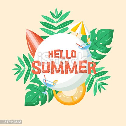 istock Hello summer vector banner template. Text on white circle background with tropical plants, surfboard, cocktail, beach umbrella, inflatable ring. Vector illustration. EPS10. 1317443848