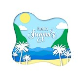 Hello Summer vector banner with palm tree and sea.