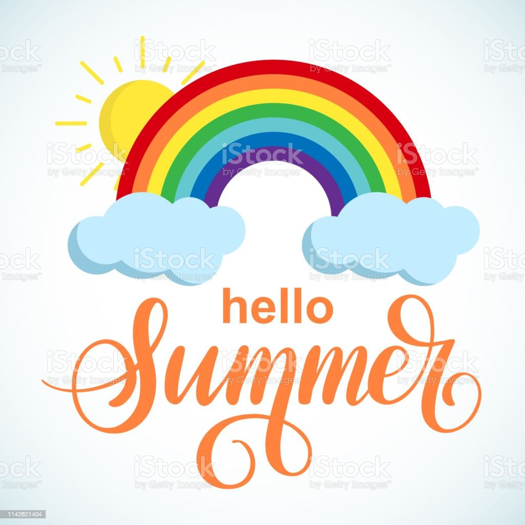 Hello Summer vector poster with sun and rainbow on white background....