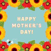 Happy Mother's day! Sunflowers and poppies with bee background. Vector illustration.