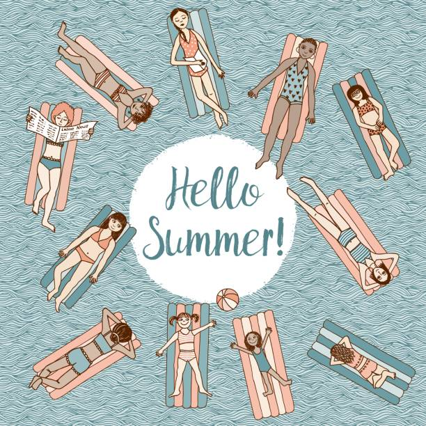 stockillustraties, clipart, cartoons en iconen met hallo zomer! - newspaper beach