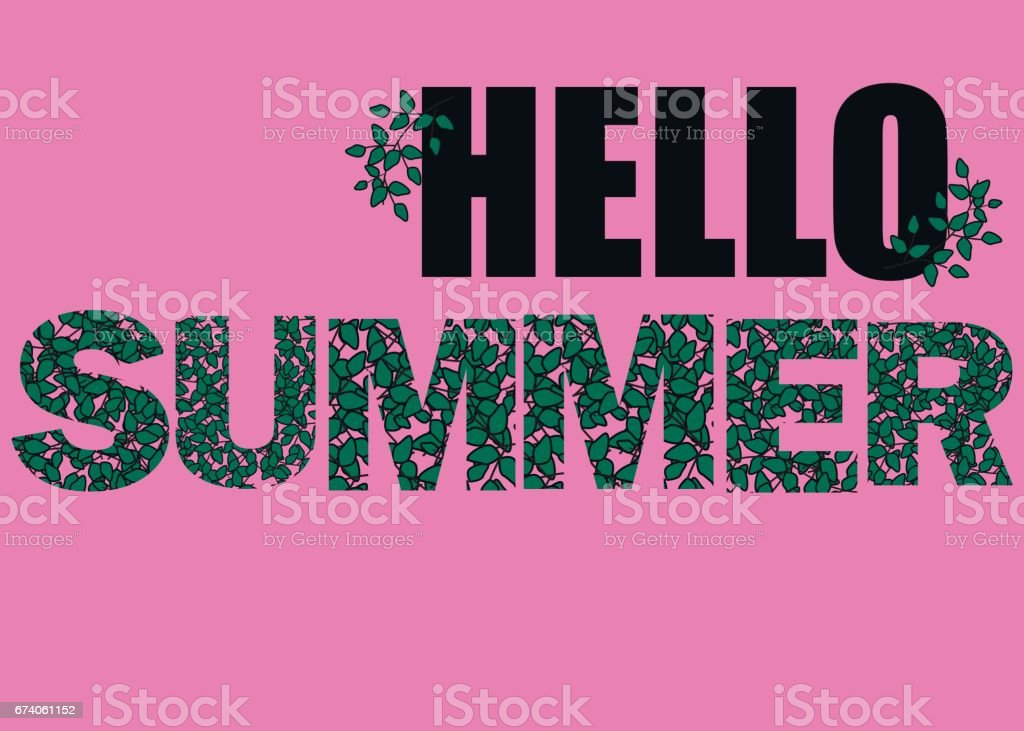 Hello Summer vector illustration, background. Fun quote hipster design icon or label. Hand lettering inspirational typography poster, banner. royalty-free hello summer vector illustration background fun quote hipster design icon or label hand lettering inspirational typography poster banner stock vector art & more images of backgrounds