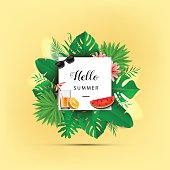 Hello summer. Vector illustration. Summer banner with 3d hawaiian leaf on pastel yellow background with watermelon, orange juice, sunglasses.