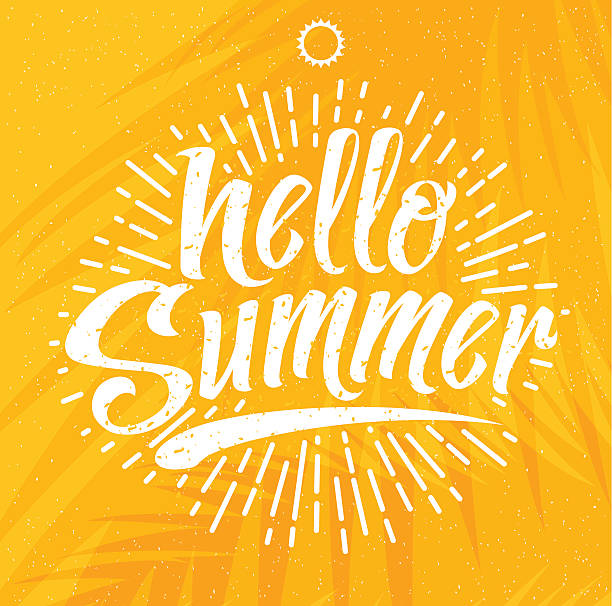 hello summer vector illustration - hello stock-grafiken, -clipart, -cartoons und -symbole
